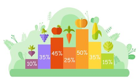 Graph report of vegetables and fruit, apple and carrot, pumpkin and corn, cabbage and beet, grapes sign with percent and colorful column, harvesting vector. Flat cartoon