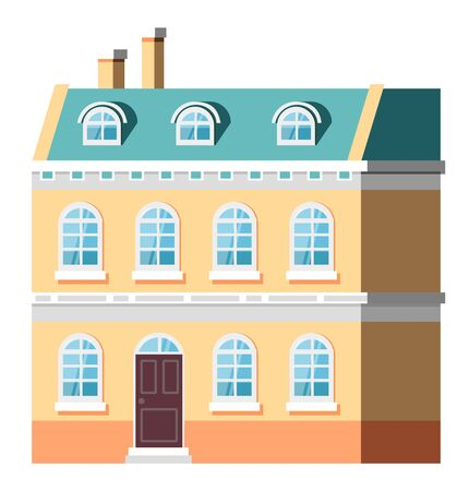 Multi-storey building with windows and entrance, shadow on house. City or street construction with yellow wall, exterior of skyscraper vector. Flat cartoon Illustration