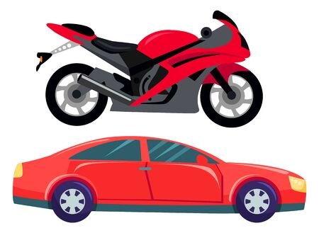Sport car vector isolated transportation. Vehicle transport of cool modern type and shape. Motorbike and bike with seat, lorry. Buy new car and moto bike. Flat cartoon