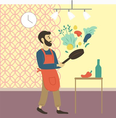 Man at home cooking lunch vector, male preparing dinner from veggies with help of pan. Preparation from vegetables, paprika and salad leaves parsley. Father day. Hasbant cook on kichen. Flat cartoon Ilustracja
