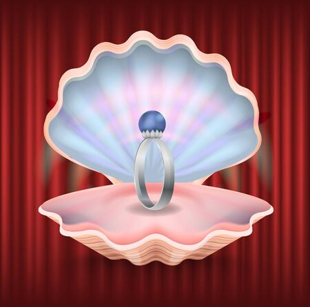 Presentation of jewelry in box vector, isolated shell with engagement ring. Red curtain background with expensive present for wedding day flat style