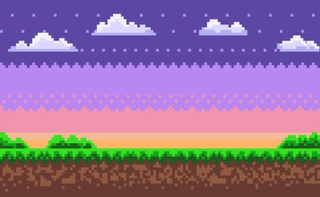 Nobody interface of pixel game platform, evening and sunset view, cloudy sky and green grass with bushes, adventure and level, computer graphic vector. Pixelated mobile app video-game
