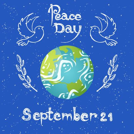 Peace day holiday vector, September 21 celebration of event, conservation of planet. Earth with flying doves and olive branches with foliage and leaves