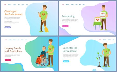 Fundraising and cleaning environment vector, people with disabilities and planting trees, watering plants, volunteers working, kind volunteering. Website or slider app, landing page flat style