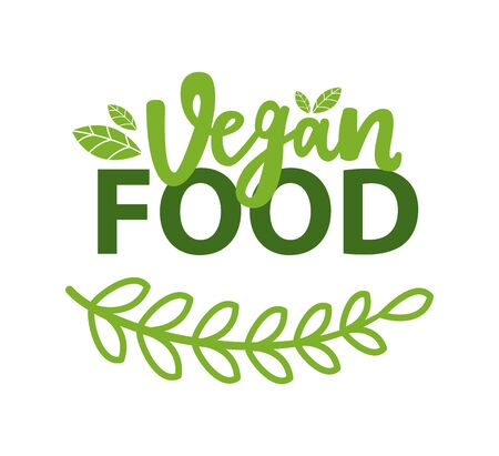 Vegan food organic  with green branch and leaves. Vector vegetarian nutrition emblem, herbs and spices. Greenery veggies plant and lettering isolated. Flat cartoon