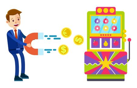 Man wearing formal clothes in casino vector, isolated character with magnet pulling money out of slot machine. Gambling gambler with fortune wheel and coin. Flat cartoon