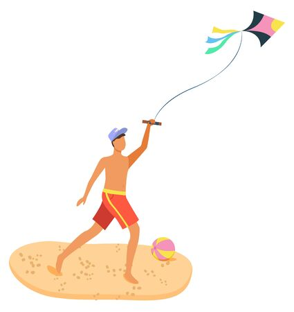 Man on summer beach having fun with kite, isolated cartoon person with flying wind toy isolated. Vector sand and ball, guy father or boy in hat playing with air toy. Summertime activity