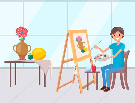 Person drawing picture on easel vector, boy learning to paint. Still life nature morte, vase with flowers on table. Person smiling holding palette colors. Flat cartoon