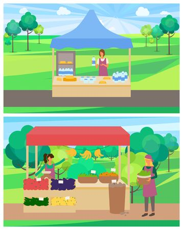 Vegetables shop with organic products vector, woman selling ingredients from farm. Milk and dairy production, milk in bottles, fridge with food set in park. Flat cartoon Ilustracja