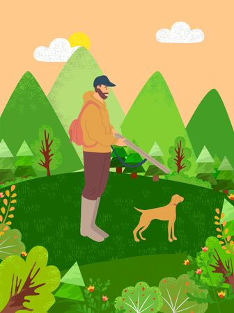 Person on nature with dog vector, hobby of character hunting with dog, male holding weapon. Leisure time on weekends, pastime of person interest time. Flat cartoon Illustration