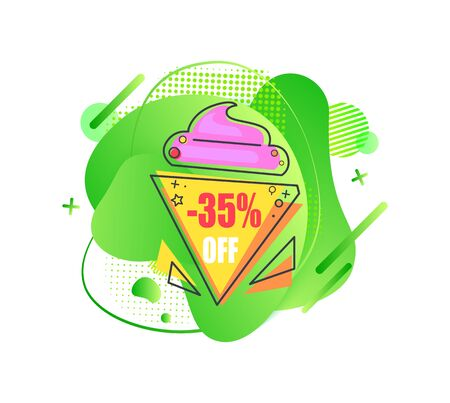 Sale emblem 35 percent off on abstract liquid green shape, triangle ice cream isolated vector illustration. Promo advert tag with color discount offer Ilustracja