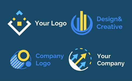 Set of presented in flat design style on blue, innovation and technology vector. Company template, geometric or round label with lines