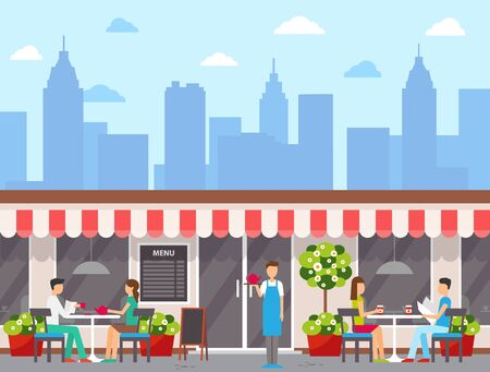 Waiter and visitors outdoors, city cafe exterior or facade vector. Wall menu and tables, couples drinking tea and coffee, skyscrapers silhouettes, downtown. Flat cartoon