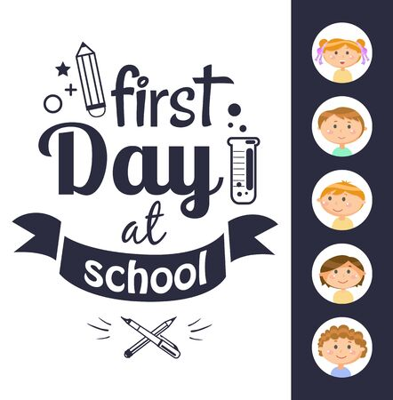 First day at school black-and-white text, round stickers of girl and boy. Laboratory tube with liquid and crossed pen and pencil, education cover vector. Back to school concept