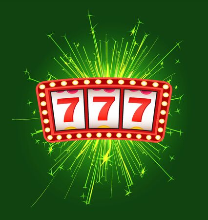 Jackpot sign with firework, cover of winning, lottery bingo. Gambling  with 777 icons and sparkle on green, game machine, business success vector