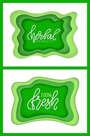 Organic food and supplies vector, isolated set of green , foliage vegetable elements, apple and plants with leaves natural meal and ingredients. Flat cartoon Ilustracja