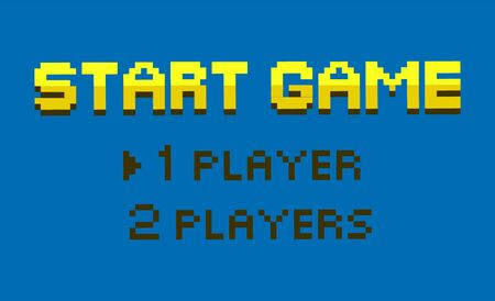 Start game vector, choice between one or two players mode, flat style option for gamers, retro pixel art gamification. Color fonts question interface. Pixelated video-game