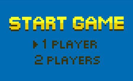 Starten Sie den Spielvektor, wählen Sie zwischen einem oder zwei Spielern, einer flachen Stiloption für Spieler, einer Retro-Pixel-Art-Gamification. Frageschnittstelle für farbige Schriftarten. Pixeliertes Videospiel
