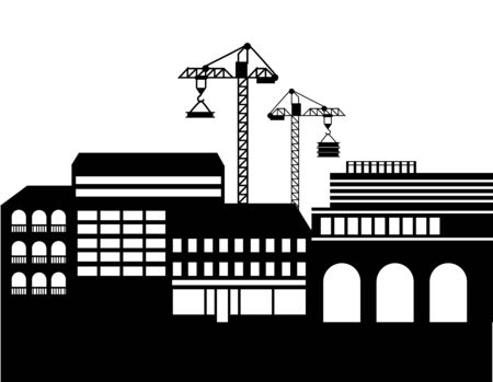 Construction of new buildings vector, megapolis expanding cranes with materials for new estates silhouette of cityscape. Skyline of small town flat style