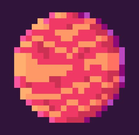 Planet of rounded shape vector, isolated celestial body with spots, pixel game graphics, element designed with pixelated effect, mosaic 8 bit galaxy Ilustracja
