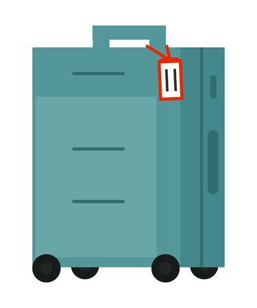 Suitcase on wheels, isolated object vector. Baggage or luggage, summer vacations abroad, journey or trip, leather bag with handle, pockets on zipper. Journey package, business travel bag. Flat cartoon Ilustracja