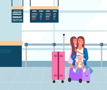 Flight and departure, family at airport, baggage or luggage vector. Mother and daughter with suitcases, summer vacation or holidays, traveling and tourism. Flat cartoon