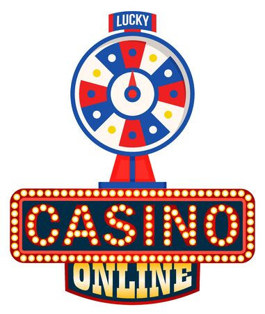 Online casino , lucky fortune wheel isolated on white. Vector symbol of gambling games, rotation circle with pointer, entertainment and betting concept. Flat cartoon