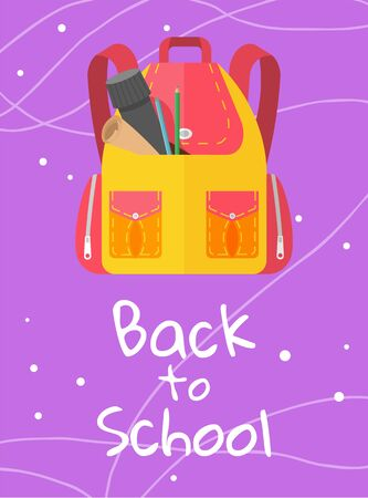 Colored school backpack. Education and study back to school, schoolbag luggage, rucksack vector illustration. Kids school bag with education equipment. Backpacks with study supplies. Student satchels Illustration