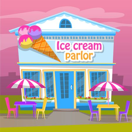 Ice cream parlor building selling dessert vector, sweet frozen cream flat style. Gelato house with place to sit and eat, tables and chairs with umbrellas. Flat cartoon Ilustracja