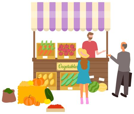 Salesperson with vegetable and fruits on shelves vector, isolated stall tent with carrots and pumpkins. Spices powder in bag, cucumber and tomatoes. Flat cartoon Stock Illustratie