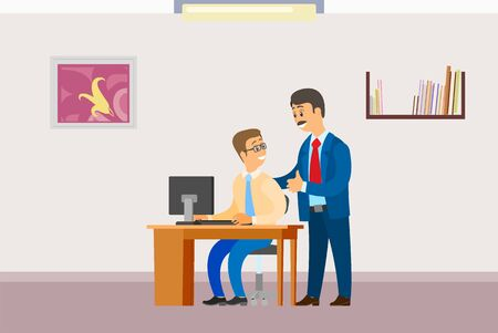 Boss in office, businessman supervisor with worker vector. Director praising programmer working on laptop, personal computer pc. Workplace interior. Flat cartoon Illustration