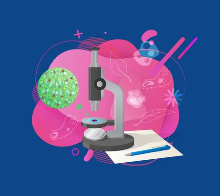 Bright liquid shape decorated by cell, leaf and flower, plant researching, microscope equipment, paper and pencil isolated on blue, biotechnology vector. Flat cartoon Illustration