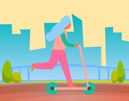 Woman riding on two wheeled open motor vehicle in park, city buildings on background. Vector profile view of girl on scooter, summer recreation activities. Flat cartoon Çizim