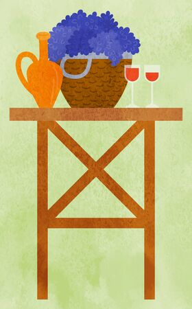 Wooden table with earthen jar, straw basket full of grapes and two glasses with red wine. Still life picnic, harvest festival concept vector illustration. Flat cartoon bunner for farm festival