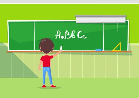 Little kid writing alphabet letters on blackboard with chalk, classroom interior. Elementary school child learning orthography vector illustration. Back to school concept. Flat cartoon