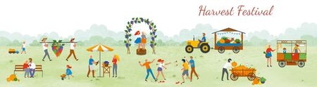 Harvest festival, man and woman outdoors celebration of holidays. Street with arcs and vineyard, females dancing on grapes market and agriculture. Funny spending time on harvest festival. Flat cartoon