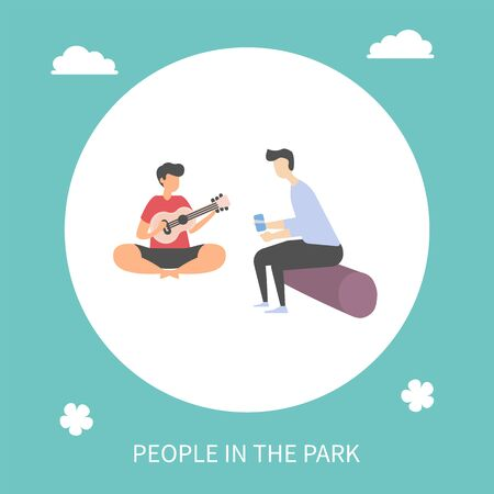 People in park vector, camping characters with guitar, man playing acoustic string instrument, listener sitting on log and listening to songs and melodies. Flat cartoon