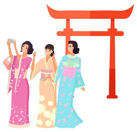 Japanese women in traditional clothes kimono making selfie near Torii. Smiling geisha in colorful dress standing near gate, landmark of Japan vector. Flat cartoon Illustration