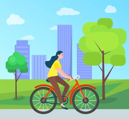 Woman riding on bicycle in green city park with trees and houses on background. Vector cartoon style girl cycling outdoors, cyclist female, summertime. Flat cartoon