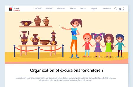 Children excursion vector, kids with teacher listening to facts and interesting info about ancient pots and amphoras with ornaments antiquity. Website or webpage template, landing page flat style