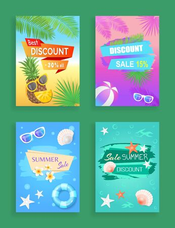 Best discount offer, summer sale, vector shaped ribbon. Sun glasses, inflatable ring, beach ball, pineapple and flower, shell and star, palm leaves Banque d'images - 129466148