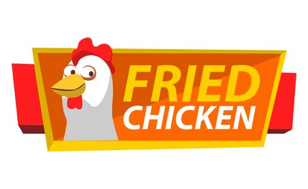 Signboard with chicken and stripes vector, isolated hen and inscription. Friend meat of chick, poultry dishes in eatery or diner, banner flat restaurant. Flat cartoon Иллюстрация