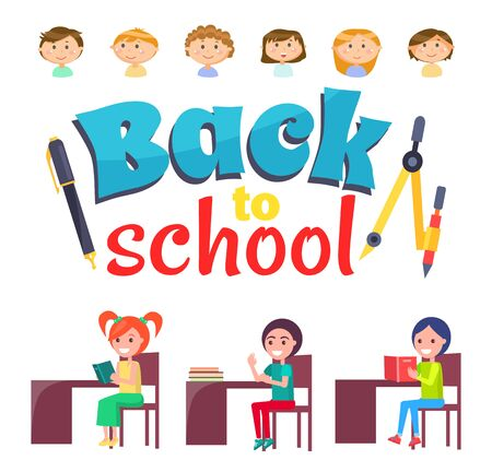 Back to school vector, kids sitting by tables loaded with books and textbooks. Literature classes, girls by desks reading printed publication on lesson. Back to school concept. Flat cartoon