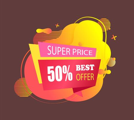 Super price reduction vector, special offer and discounts of shop, isolated banner with stripes and text, half price reduction, deal and clearance