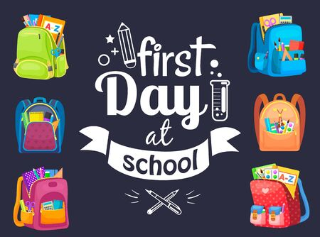 First day at school postcard decorated by backpack, office symbol. Full bag, pen and notebook, paints with tassel, eraser and pen, knowledge vector. Back to school concept. Flat cartoon