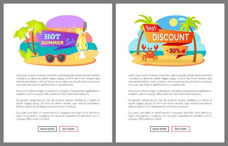 Hot summer big best sale and discount 30% off posters. Tropical beach, palm trees, smiling crab and cocktail, summertime webpage, shopping online vector. Flat cartoon