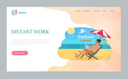 Freelance summer or distant work of man, laptop on beach, smiling male using wireless divice, male sitting under umbrella, workplace outdoor vector. Website webpage template, landing page flat style