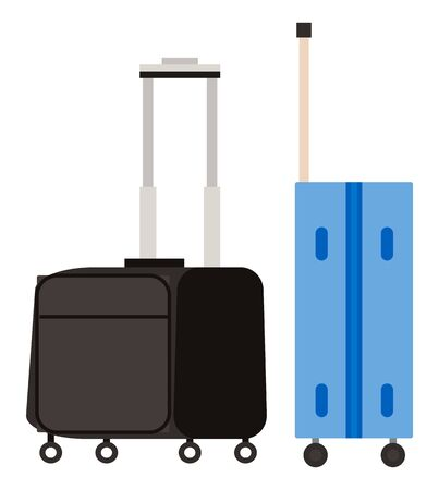 Suitcase on wheels, isolated object vector. Baggage or luggage, summer vacations abroad, journey or trip, leather bag with handle, pockets on zipper. Journey package, business travel bag. Flat cartoon Illusztráció