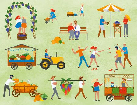 Assortment of vegetables and fruit on harvest festival in europe. People drinking and eating, playing with tomatoes, vineyard and market place. Funny spending time on harvest festival. Flat cartoon Иллюстрация