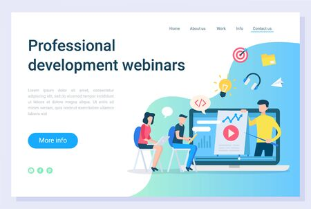 Professional development webinars, electronic library. Online education technology, communication with laptop, business teaching, learning vector. Webpage or website template, landing page flat style 向量圖像